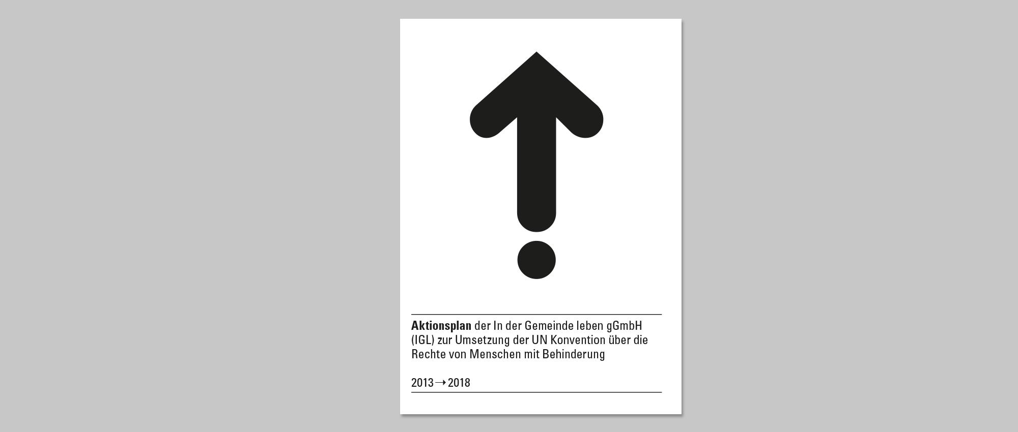 Abgebildet ist die Titelseite des IGL Aktionsplans mit einem schwarzen Pfeil der nach oben zeigt